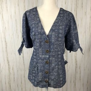 Anthropologie NWT Blue Tied-Sleeve Blouse 16